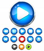 Shiny Eps10 Audio Buttons /play Button, Stop, Rec, Rewind, Eject, Next, Previous Vector Buttons