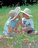 Boy And Girl Sharing Flowers