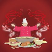 Chinese Cook with Dragons and Cuisine concept