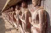 Monk Statues  In Sukhothai Historical Park poster