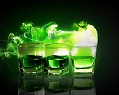 image of absinthe  - Three glasses of green absinth with fairy - JPG