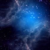 picture of cluster  - Blue space background with clouds and stars - JPG