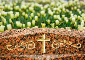 Cross On Gravestone With Flowers
