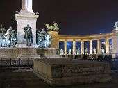 Heroes Square In Budapest At Night