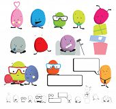 illustration of cuyte characters with family, love, ill, happy