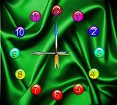 Stylish Clock On Green Silk Background