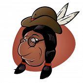 lustige Cartoon-Indianer mit Hut und Federn