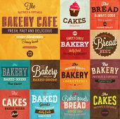 Set of vintage retro bakery labels and logo badges, paper textures set