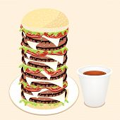 Juicy Cheese Burger With Disposable Coffee Cup