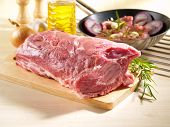 picture of shoulder-blade  - Raw Pork Shoulder Square Cut on kitchen cutting board - JPG