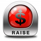 income raise a rise in higher salary pay increase negotiation for job promotion red metal icon