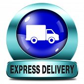 express delivery blue button shipping online order from internet webshop web shop icon