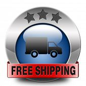free delivery or package shipping from internet web shop order, webshop button or sticker blue red m