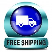 free shipping and package delivery from online internet web shop order, webshop blue icon or button