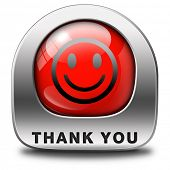 Thank you note saying thanks a lot sign expressing gratitude red icon or button smiley