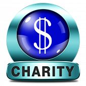 charity blue icon fund raising raise money to help donate give a generous donation or help with the