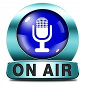live on air radio live stream music songs broadcasting blue microphone icon