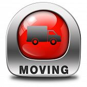 Moving or relocation red icon a van or truck to relocate to other house or location a button or icon