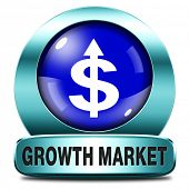 growth market economy growing emerging economies in international and global leading countries blue