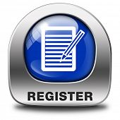register here blue metal sign or icon. Membership registration button or sticker.
