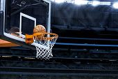 stock photo of arena  - Large basketball arena with copy space - JPG