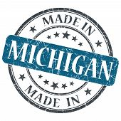 Made In Michigan Blue Round Grunge Isolated Stamp