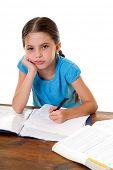 bored little girl studying