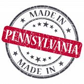 Made In Pennsylvania Red Round Grunge Isolated Stamp