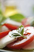 closeup of classic italian caprese salad, with mozzarella,basil and tomato