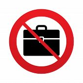 No Case sign icon. Briefcase button.