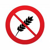 stock photo of wheat-free  - No Gluten free sign icon - JPG