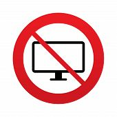 No Computer widescreen monitor sign icon.