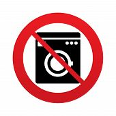 No Washing machine icon. Home appliances.