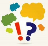 question and exclamation marks with speech bubbles