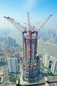SHANGHAI, CHINA - JUNE 2: Skyscraper under construction on JUNE 2, 2012 in Shanghai, China. Shanghai