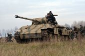 Kiev, Ukraine - November 3: German tank (replica) is displayed on the Field of Battle military histo