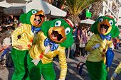 Sesimbra, Portugal - February 12, 2013: Performers dressed as the Brazilian Disney character Jose Ca