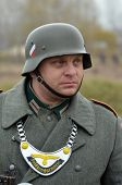 KIEV, UKRAINE -NOV 2: An unidentified member of Red Star history club wears historical German unifor