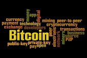 Bitcoin word cloud with black background