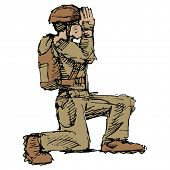 An image of a kneeling soldier saluting.