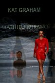 NEW YORK-FEB 6: Kat Graham wears Mathieu Mirano on the runway at The Heart Truth Red Dress Collectio