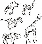 Ungulates Animals In Tribal Style