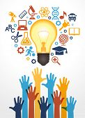 Creative bulb with school icons and human hand. Concept learning. The study of science. his work - e