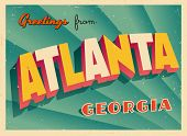 Vintage Touristic Greeting Card - Atlanta, Georgia - Vector EPS10. Grunge effects can be easily removed for a brand new, clean sign.