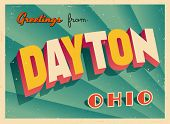 Vintage Touristic Greeting Card - Dayton, Ohio - Vector EPS10. Grunge effects can be easily removed