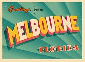 Vintage Touristic Greeting Card - Melbourne, Florida - Vector EPS10. Grunge effects can be easily re