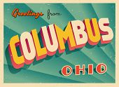 Vintage Touristic Greeting Card - Columbus, Ohio - Vector EPS10. Grunge effects can be easily removed for a brand new, clean sign.