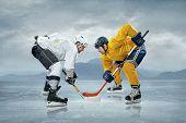 Ice hockey players on the ice