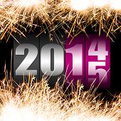 picture of numbers counting  - Happy New Year 2015 with sparkles - JPG