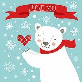 Valentine`s day card with cute polar bear